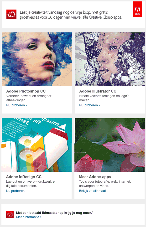 Lead nurturing: sales drip marketing voorbeeld van Adobe's Creative Cloud